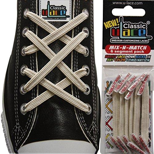 U-LACE MIX Lacets élastiques sans laçage Enfant Adulte de 7 à 77 ans Lacets elastiques vendus par boite de 6 petits segments - Minimum : 2 sachets nécessaires - Comptez bien vos oeillets ! (TAN)