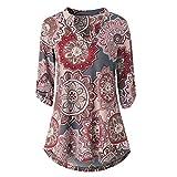 IMJONO Bluse Damen elegant Frauen Spitze Mode Vintage Top T-Shirt, 2019 Jubiläumsfeier Damen Langarm Floral Bedrucktes Roll-Up Top Lässige Bluse mit Blusen