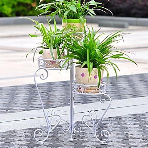 Fer Folding Flower Stand Floor Style Pots de fleurs Balcon Living Room Indoor and Outdoor Flower Rack (66 * 74cm) ( Couleur : Blanc )