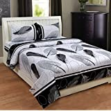 Sky Tex Black & White Color Light Weighted Cotton 140 TC Leaves Printed Queen Sized Double Bed Sheet With 2 Pillow Covers
