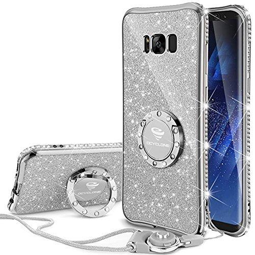 Samsung galaxy S8 Hülle Glitzer Mädchen Silber,360 Grad Ständer und Trageband Silikon Diamant Glanz Kristall Strass Funkeln Bling Glitter Case Girl für Samsung galaxy Note 8
