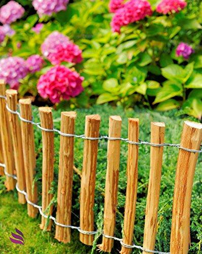 Floranica – Dekorativer Steckzaun aus Holz – Keine Pfosten Nötig – imprägnierter Rollzaun, Rollboarder, Holzart: Haselnuss – Länge 2m