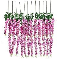 12pcs Artificial Silk Wisteria Vine Ratta Silk Hanging Flower Wedding Decor,Rose Red