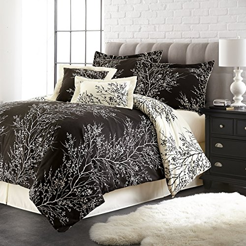 Size Hotel 5th Ave Foliage Comforter Set Set of 6 Black//Ivory Queen