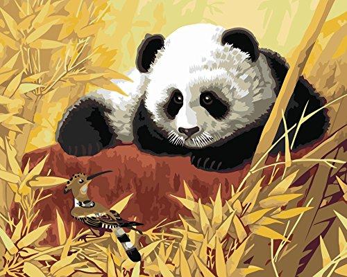 CUFUN Art Malen nach Zahlen Kit DIY Vorgedruckte Leinwand Ölgemälde Geschenke für Kinder Erwachsene Wanddekor Ungerahmt 40x50cm (Schöner Panda)