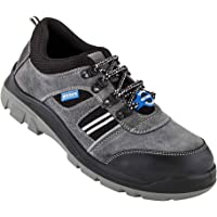Neosafe A7020_6 RunX, Men's Grey Sued Leather Safety Shoes with Steel Toe, Size 6, with PU Insole for Anti Fatigue…