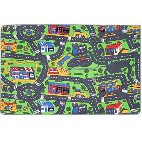 Primaflor - Ideen in Textil Tapis de Jeux Circuit 1,40m x 2,00m, Tapis de Jeu Enfant | Tapis Circuit Voiture | Tapis Sol Enfant de Haute Qualité