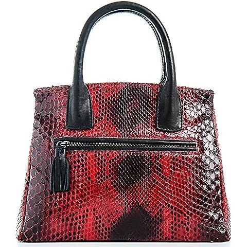 Milano - Passione Bags - Borsa da donna in vero pitone tinto a mano rosso a mano o spalla. Animalier Made in Italy