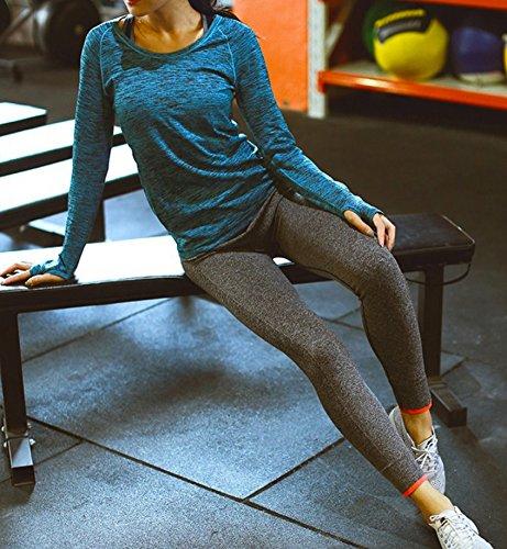 WSLCN Femme Legging du Sport Fitness Yoga Sport Pantalons Collant Elastique Sexy Treggings Gris clair