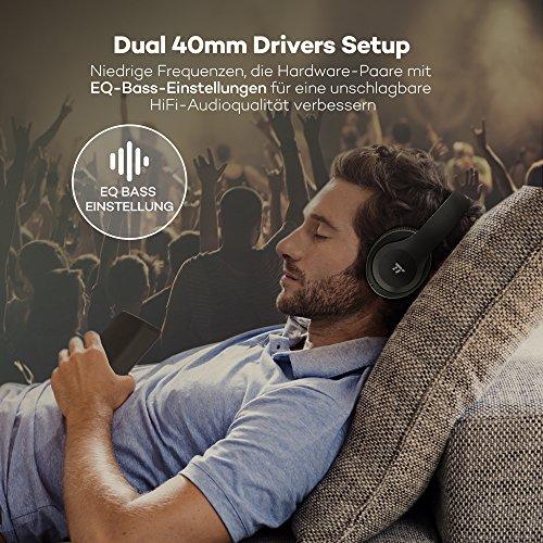 TaoTronics Bluetooth Kopfhörer Over Ear Headset mit leichtem Rückstellschaum Ohrpolster & Dual 40mm Treiber, 15 Stunden Spielzeit, EQ Bass, 3,5 mm AUX, On-Ear Steuerung - 4