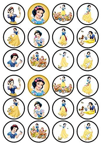 24Prinzessin Schneewittchen Precut Aufstehen -,-Wafer, Kuchen, essbare Cupcake-Dekoration, Dekoration, weiß, 24 PRECUT (Schneewittchen-kuchen)