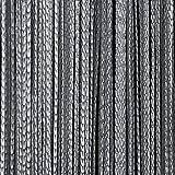 Fadenvorhang Tür Vorhang Gardine Schal Faden Türvorhang Fadengardine in 2 Größen (Grau, 140cm x 250cm)