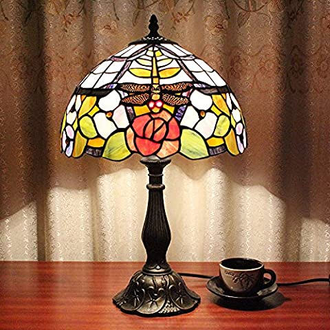 Carl Artbay 12-Inch Vintage Pastoral Dragonfly With Flowers Stained Glass Tiffany Table Lamp Bedroom Lamp Bedside Lamp