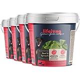 Marchio Amazon - Lifelong - Snack per cani, senza grano, con mono - proteina, con manzo e spinaci (4 secchielli da 500gr)
