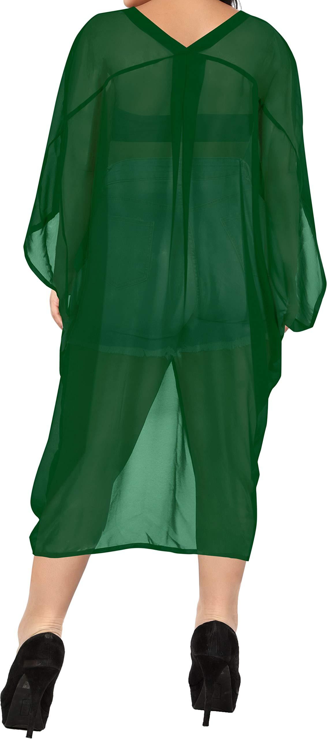LA LEELA Copricostume Mare Cardigan Donna Taglie Forti Vintage Chiffon Estivo Scialle Elegante Solido Kimono Vestito Corto Estate Boho Tunica Etnica Abito da Spiaggia