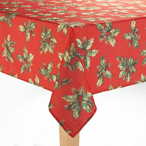 St. Nicholas Square Festive Holly bedruckter Stoff Tischdecke, 100 % Polyester, mehrfarbig, 60