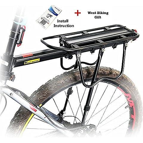 West Biking Portapacchi universale 110lb Capacità, donna unisex Uomo Ragazzi, Black