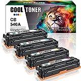 4 Pack Cool Toner Kompatibel für HP CB540A CB541A CB542A CB543A 125A Toner für HP Color Laserjet CP1215 1515N CP1515 CP1514N CP1518NI CM1312NFI, Schwarz 2.200 Seiten, Color je 1.400 Seiten