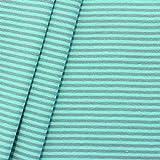 Baumwoll Bündchenstoff Ringel glatt Meterware Mint-Grau