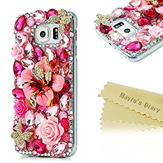 Samsung S6 Case - Mavis's Diary 3D Handmade Luxury Colorful Shiny Bling Crystal Rhinestone Diamond Design Hard Cover Clear Case for Samsung Galaxy S6 SM-G920F with Soft Clean Cloth (Pink Flower Double Butterfly)