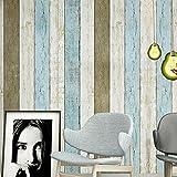 Yazi Vintage blau Tapete Holz Muster PVC Selbstklebend TV Hintergrund Wand Kunst Dekoration 60x 300cm