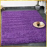 Prime Shaggy Teppich Lila Hochflor Langflor Teppiche Modern für Wohnzimmer Schlafzimmer Einfarbig 160 cm Durchmesser