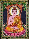 Jaipur Kala Kendra murale Motif Bouddha à suspendre Multicolore Indian Jeté de lit en coton style Hippie Seigneur Art Decor Meditation style bohémien 2 Poster de Lotus en fait à la main