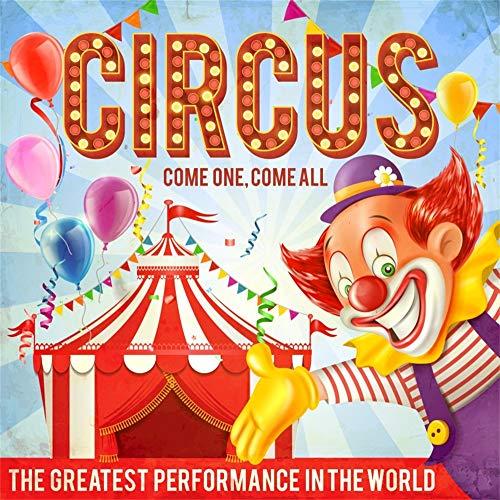 YongFoto 3x3m Vinyl Foto Hintergrund Zirkus Karneval Gestreiftes Zelt Clowns Farbige Ballons Bänder Fotografie Hintergrund für Photo Booth Baby Party Banner Kinder Fotostudio Requisiten Clown-band