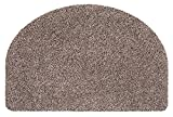 andiamo Fußmatte halbrund waschbar Samson Uni rutschhemmender Rücken Fußabtreter Türmatte, Coton, Granite, 50x75 cm