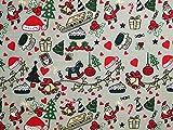 Tissu en polycoton pour vêtements Argenté Motif Noël Au mètre