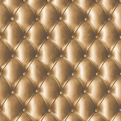 Muriva Faux Leather Effect Diamond Pattern Designer Vinyl Wallpaper Gold 888802