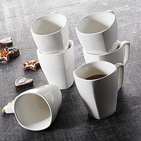 Malacasa, Serie Rosana, 6 tlg. Set Kaffeeservice Cremeweiß Porzellan Kaffeetasse Tassen 4,75 Zoll / 12*9*10,5cm / 350ml Becher Teetasse Kaffeebecher-Set Bechersets für 6 Personen