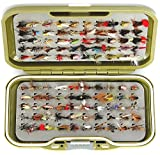 GS-V Fliegenköder-Set, ohne Widerhaken, zum Forellenfischen, trocken oder nass, Nymphe, Sommer