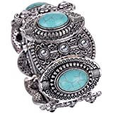 Yazilind Vintage Tibetan Silver Ethnic Gothic Oval Turquoise Inlay Wide Bangle Women