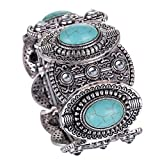 Yazilind Lese Tibet Silber Ethnic Gothic Oval Türkis Inlay Breite Armband-Frauen