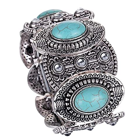 Yazilind cru Tibetain Argent Turquoise Inlay Oval gothiques femmes bracelet