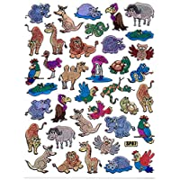 Camel Birds Elephant Mouse Buffalo Kangaroo Animals Zoo Sticker 39 Pieces 1 Sheet 135 mm x 100 mm Sticker Craft Children Party Metallic Look