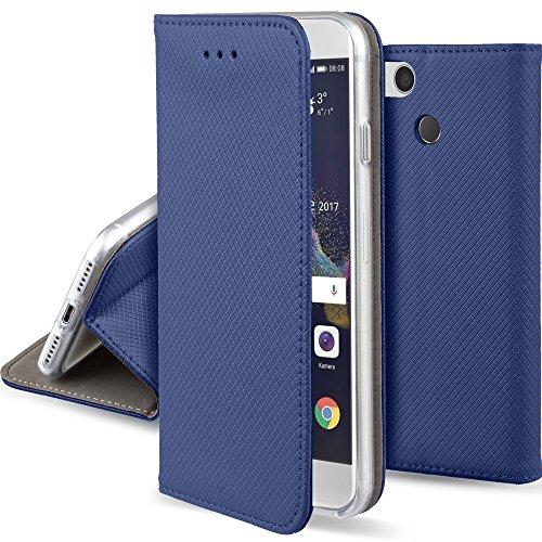 Moozy Hülle Flip Case für Huawei P8 Lite 2017, Dunkelblau - Dünne Magnetische Klapphülle Handyhülle mit Standfunktion