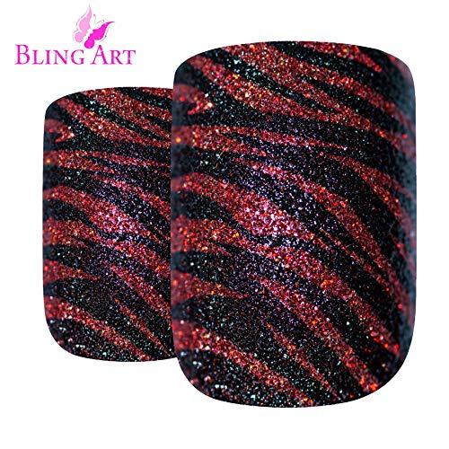 Faux Ongles Bling Art Rouge Briller 24 Squoval Moyen Faux bouts d'ongles acrylique avec de la colle