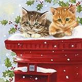 Papierservietten für Decoupage, 3-lagig, 33 x 33 cm, Motiv: Weihnachten, Postmaster, 4 einzelne Servietten zum Basteln und Serviettenkunst
