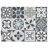 Adhésif carrelage - Sticker carreaux de ciment - Décoration - Mozicdraft (Vert, Bleu, Beige, Blanc, Noir, Gris) - 12 pièces (10 x 10 cm)