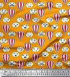 Soimoi Orange Baumwolle Ente Stoff Wolke & Heißluftballon