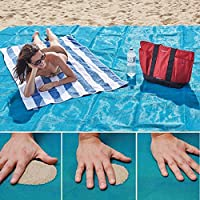 Sand Free Beach Mat - Sable et saleté essentiels Camping gratuit Ensemble - Extra Large Durable Polyester Couverture de camping - Dracarys (bleu 59 x 78.7 inches)