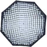 Rollei Profi Octabox 90 cm - Faltbare Schirm-Octabox (Octagon Softbox, Octagon Schirm) mit Bowens-Anschluss, 90cm Durchmesser, für Portrait- und Produktfotografie, inkl. Wabe (GRID) - Schwarz