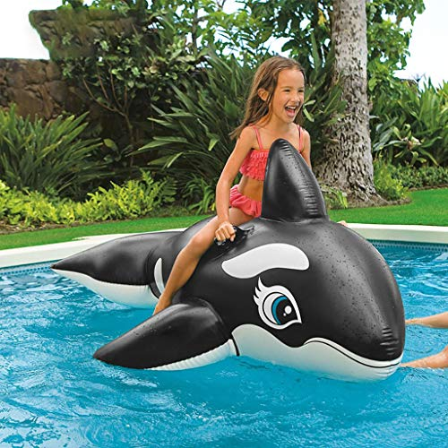 ToDIDAF Schwimmbad schwimmt für Kinder, Schwimmbadzubehör, Cartoon-Schwimmring, Wasser aufblasbares Spielzeug, schwimmendes Bett, geeignet für Sommerurlaub / Poolparty / Reisen (Schwarzwal)