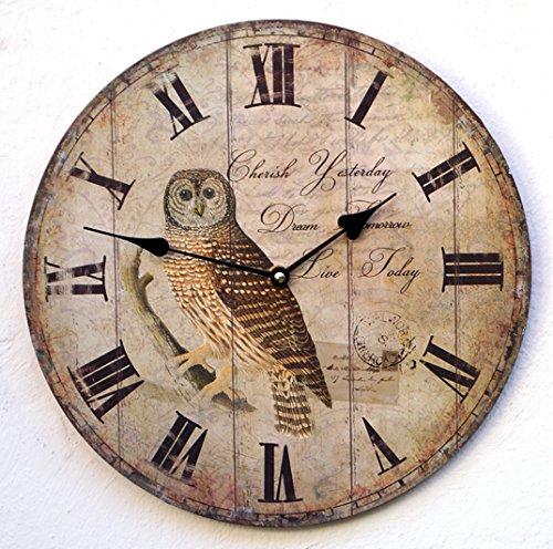 Uhr Wanduhr Küchenuhr braun Eule Vintage