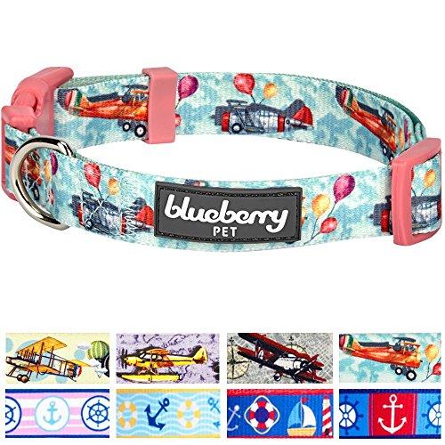 Blueberry Pet Traumhöhen Flugzeug & Luftballon Designer Hundehalsband in Eton-Blau, M, Hals 37cm-50cm (Party Supplies Hamilton)