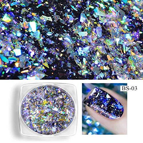 feiXIANG Ongles Paillettes Super Brillant Miroir Chrome Ongle Manucure Nail Glitter Pigment de la Poudre - Laser Caméléon Arc en Ciel Argent