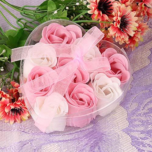 Balight 9pcs profumato di petali di fiori di rosa profumati confezione regalo a forma di cuore bagno sapone corpo regalo bomboniera san valentino
