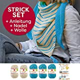 Myboshi Strick-Set Dreieckstuch Surprise: 5 xStrickwolle Lieblingsfarben No.2 + Strickanleitung + selfmade Label Wollfarben: (Aquamarin / Elfenbein)